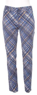 Prada Blue White Brown Plaid Pattern Print Fitted Pleat Wool Trousers 436 Pants