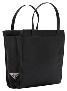 Prada Nylon Satin Tote Black Clutch