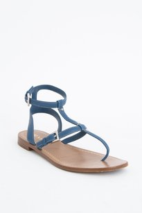 Prada Gladiator Stud Leather Ankle Stitch Buckle Thong Flat 838 Blue Sandals