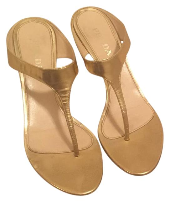 fbbd80ac0f4 Prada Gold Sandals Size US 7.5 7.5 7.5 Regular (M