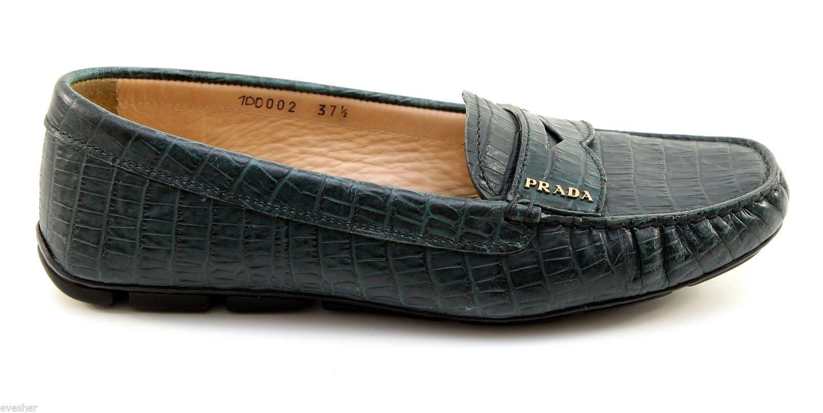 ea4b765ab8d ... where to buy prada green leather moc croc driver loafer heel gold hw  37.5 dopeek flats