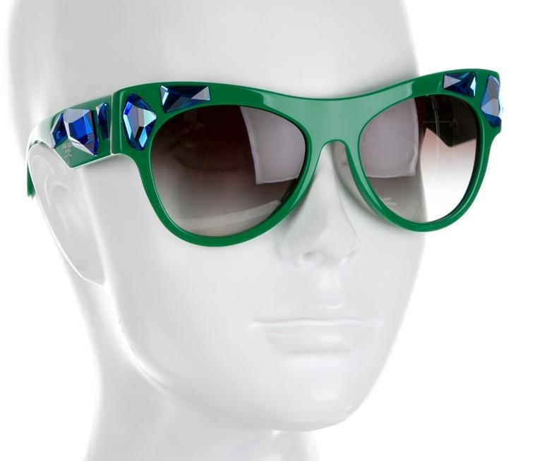 e3a94b95e58f ... switzerland prada green blue resin crystal embellished cat eye new  sunglasses 14419 235fd