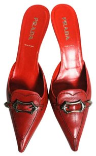 Prada Kitten Heel Buckle Detail Made In Italy Red Mules