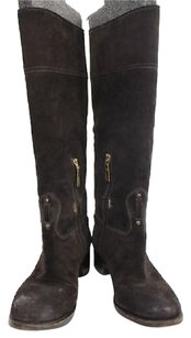 Prada Womens Knee High Suede Casual Brown Boots