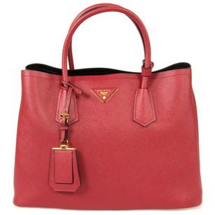 Prada Leather Double Galleria Saffiano Tote in Fuoco Red