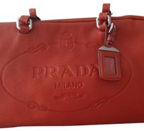 Prada Leather Travel Satchel in Orange