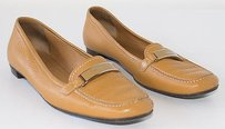 Prada Light Leather Plaque Front Loafers Brown Flats