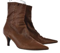 Prada Womens Mid Calf 388 Leather Woven Pointed Toe Heels Brown Boots
