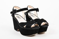 Prada Suede Wedge Black Sandals