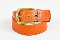 Prada Prada Burnt Orange Gold Tone Grained Leather Belt 3485