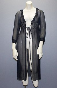Prada Prada Navy Sheer Mesh 34 Sleeve Empire Waist Tie Long Cover Robe Hs948