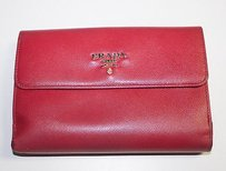Prada Prada Red Saffiano Leather Credit Card Wallet Change Purse Hso