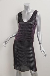 Prada Prada Womens Purple Velvet Striped Burnout Tank Top Short Skirt Outfit Set 440