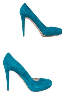 Prada Suede Leather Turquoise Pumps