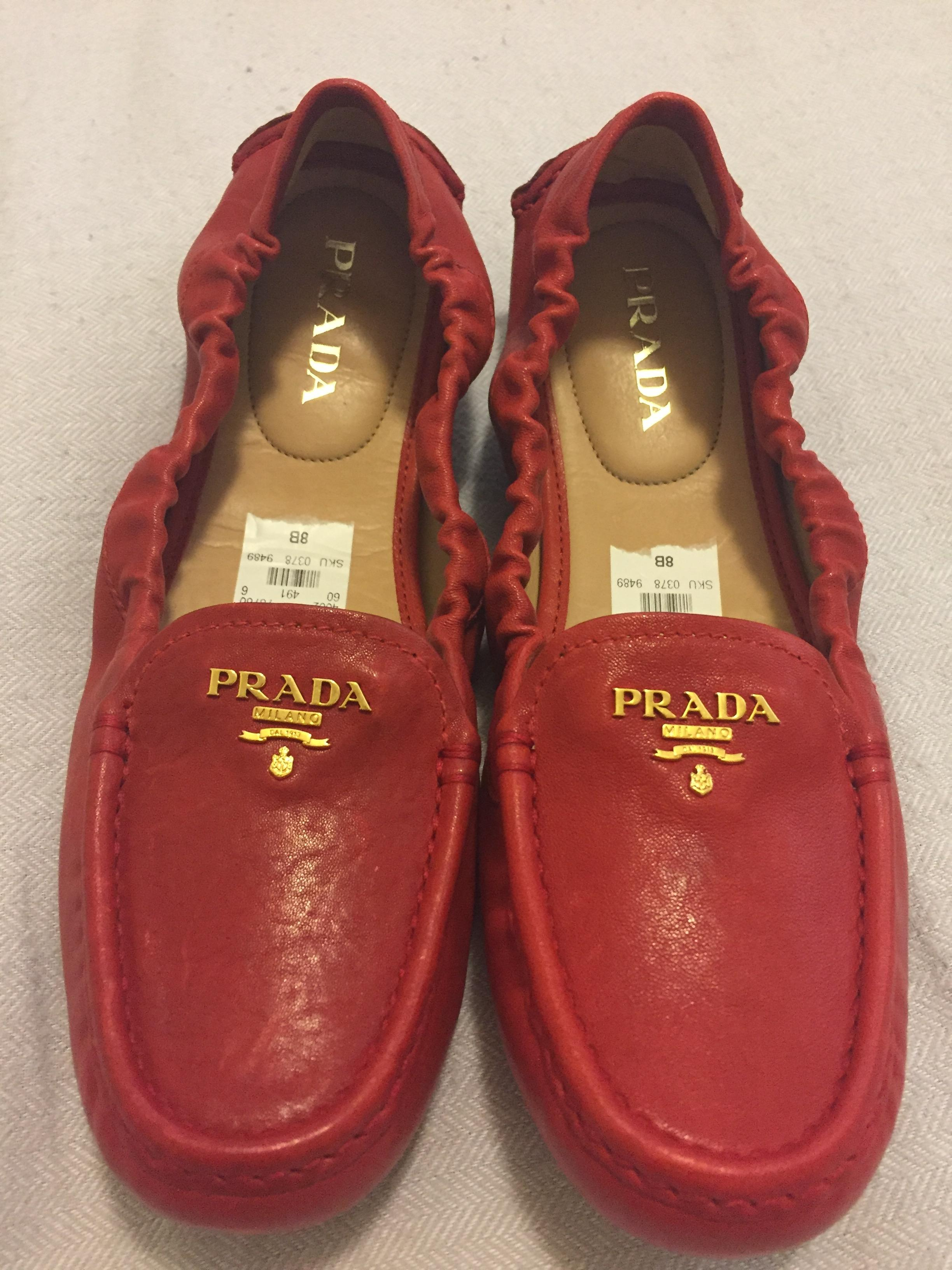 e4cc555dedae9e coupon code for prada rosso red leather scrunch driving loafers 38 flats  size us 8 regular