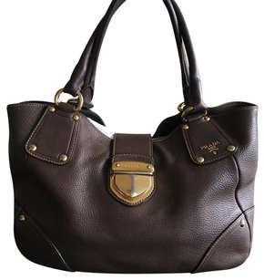 Prada Satchel in Brown and Gold Hardware