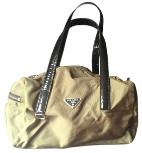 Prada Nylon Patent Leather Satchel in Green