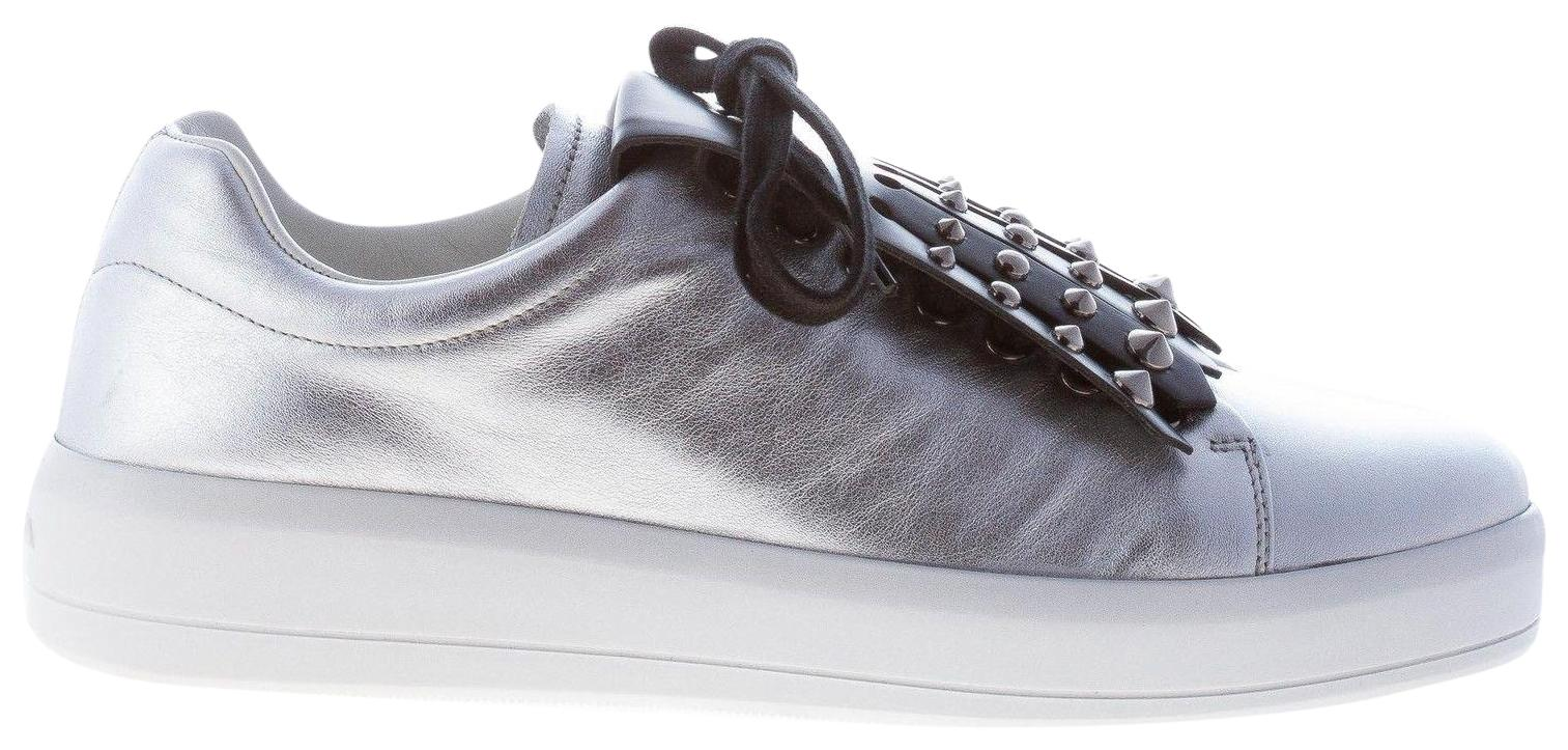Prada Silver Metallic Leather Sneaker with Black Studs Fringe Sneakers Size EU 36.5 (Approx. US 6.5) Regular (M, B)