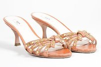 Prada Coral Gold Tone Leather Pink Sandals
