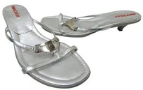 Prada 9m Leather Flip Flop Slide Heel Italy Silver Sandals