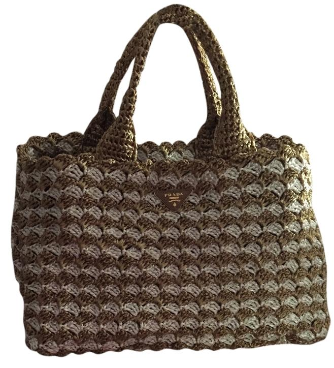 56cc52303082 ... canada prada crocheted raffia large expandable made in italy. tote in  tan white a0acc edaac
