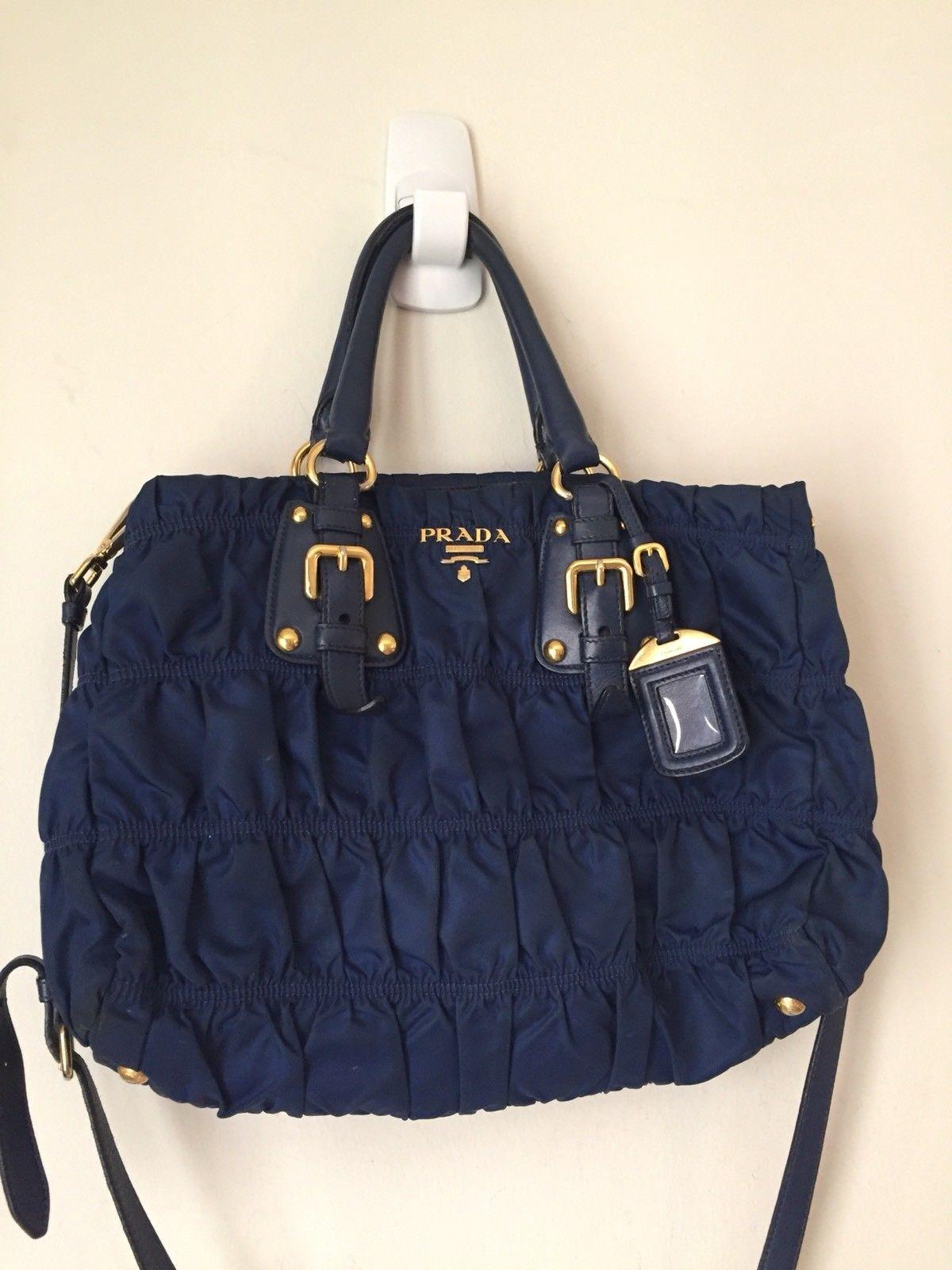 ea46b4fa62ba27 ... promo code for prada tessuto gaufre in and trim navy nylon leather shoulder  bag tradesy da5c1