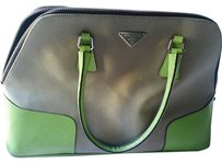 Prada Tote in Tan and Lime Green