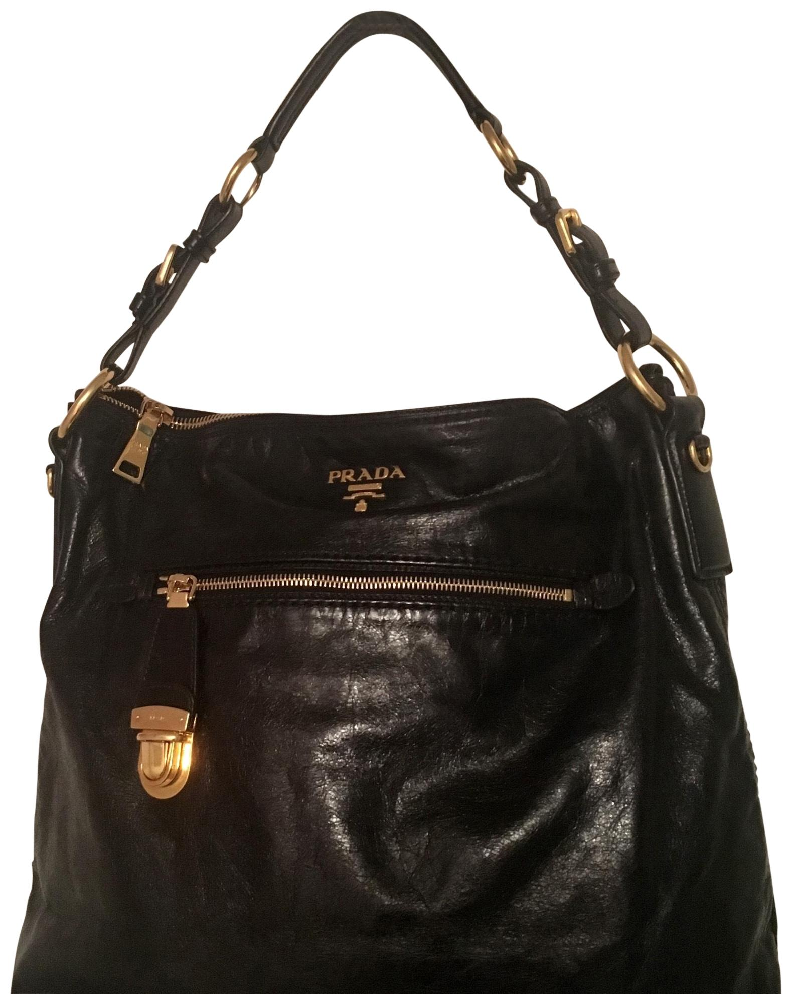 efb3a4f8b4b ... canada prada vitello shine black calfskin leather hobo bag tradesy  11f07 34384