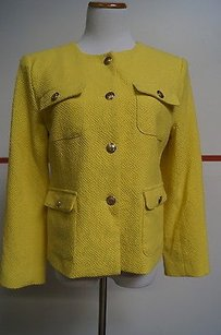 Premise Premise Bright Yellow Gold Button Front Blazer 10 12531