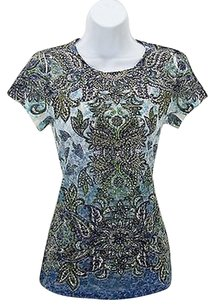 Pressley&Co Press Blue Green Silver T Shirt Multi-Color
