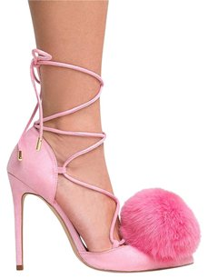Privileged Pom Pom Heel Lace Up Pointed Toe Pink Pumps