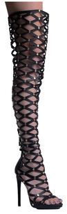 Privileged Thigh High Zipper Closure Open Toe High Heel Vegan Leather Black Boots