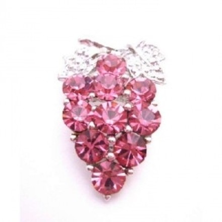 Prom Brooch Pink Rose Crystals Silver Casting Leaves Crystals Brooch
