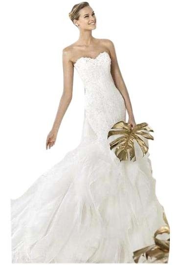 Pronovias Off White Lace And Organza Leiben Traditional Wedding Dress Size  12 (L) ...