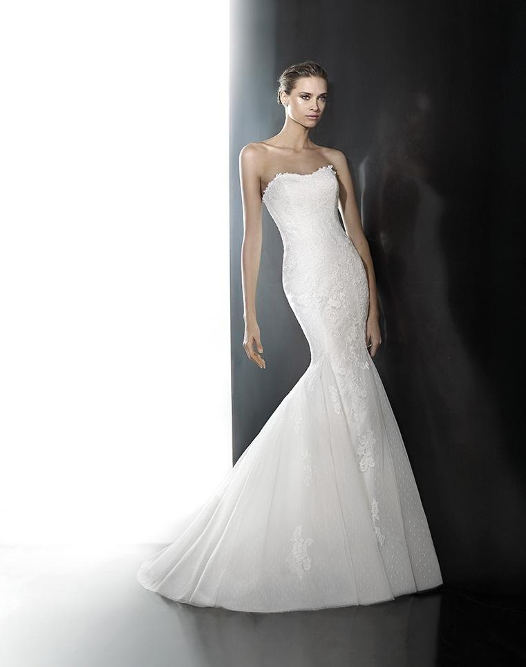 Ordinaire Pronovias Off White Lace Phoenix Feminine Wedding Dress Size 14 (L) ...
