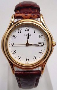 Pulsar Womens Brown Leather Gold-tone Stainless Steel Watch