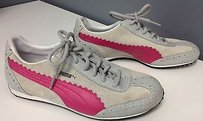 Puma Leather Pink Stripe Accented Lace Up Casual Sneakers B2920 Gray Athletic