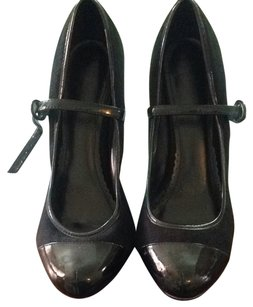 Qupid Black Suede&patent Leather Accents Pumps