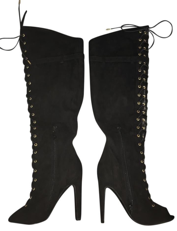 qupid faux suede knee high lace up black boots on tradesy