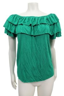 Rachel Pally Ruffle Neckline Top Green