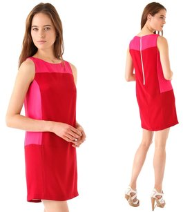 Rag & Bone short dress Red, Pink Silk Crepe Shift Contrast Mini on Tradesy
