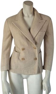 Ralph Lauren Black Label Silk Tweed Double Breast Blazer Hs779 Beige Jacket