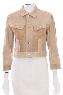 Ralph Lauren Black Label Leather Cropped 3/4 Sleeve Suede Usa Tan Leather Jacket