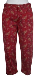 Ralph Lauren Lauren Jeans Co Womens Petite Red Capri 10p Paisley Casual Pants
