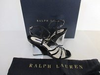 Ralph Lauren Collection Patent Orissa Wedge Sandal Black Pumps