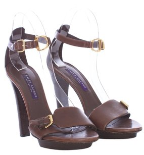 Ralph Lauren Collection Leather Platform Gold Hardware Chunky Brown Sandals