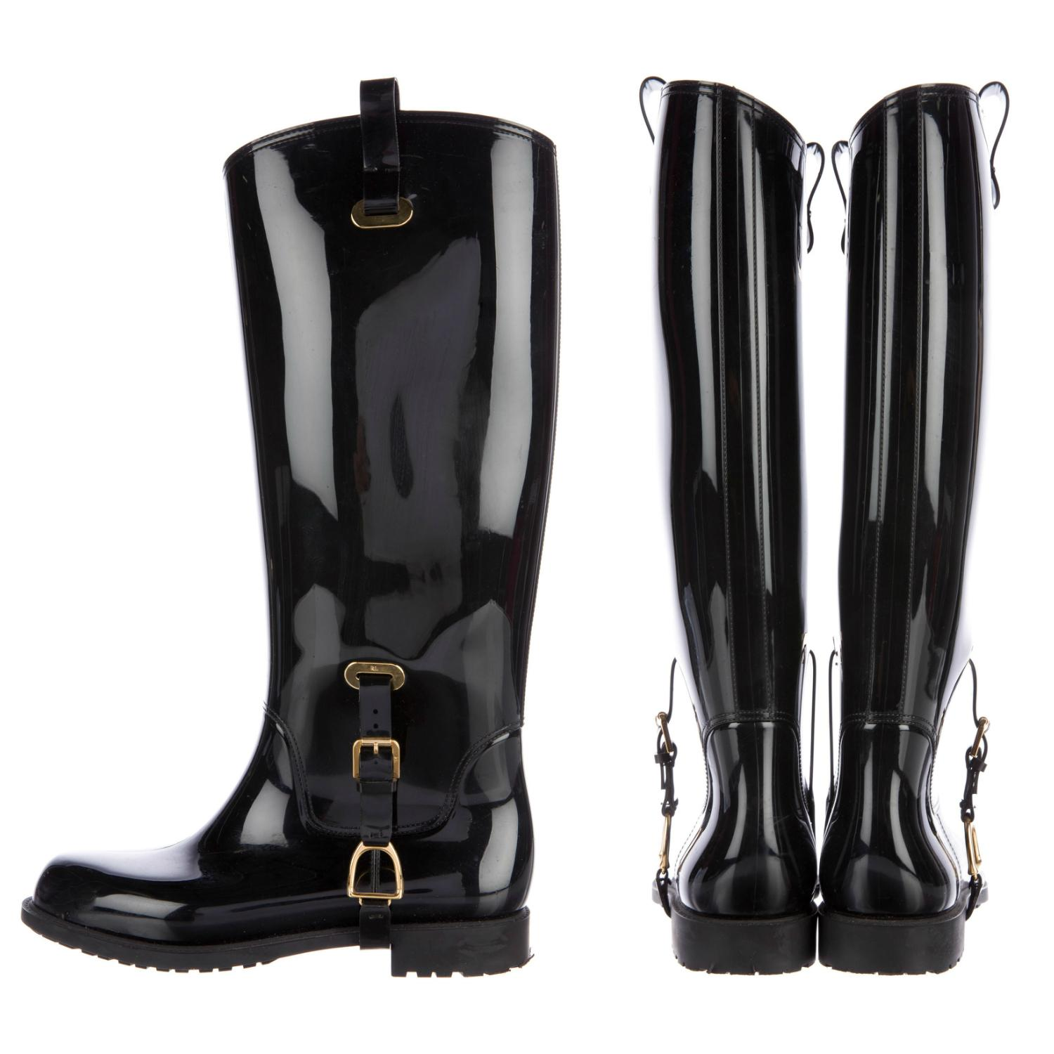 Ralph Lauren Collection New Fully Insulated Black Label Riding Rain Boots/Booties Size US 7.5 Regular (M, B)