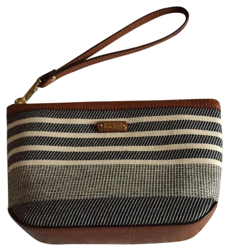 Ralph Lauren Wristlet in Blue/brown trim