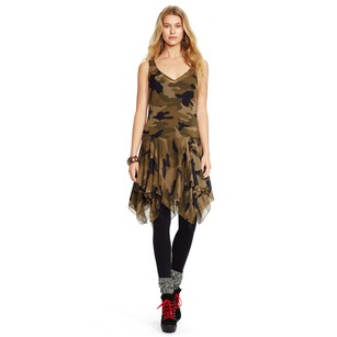 Ralph Lauren Flounce Silk Ruffle Dress