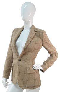 Ralph Lauren Ralph Lauren 50 Cashmere 50 Alpaca Riding Jacket Camel Plaid